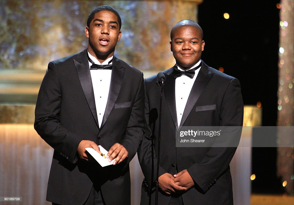 Actors Chris (L) and <a gi-track='captionPersonalityLinkClicked' href=/galleries/search?phrase=Kyle+Massey+-+Actor+-+Born+1991&family=editorial&specificpeople=540280 ng-click='$event.stopPropagation()'>Kyle Massey</a> present the Emmy for Outstanding Performer in a Children's Series during the 36th Annual Daytime Emmy Awards at The Orpheum Theatre on August 30, 2009 in Los Angeles, California.