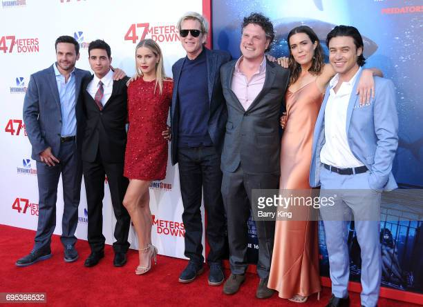 Actors Chris B Johnson Santiago Segura Claire Holt Matthew Modine director Johannes Roberts actress Mandy Moore and actor Yani Gellman attend the...