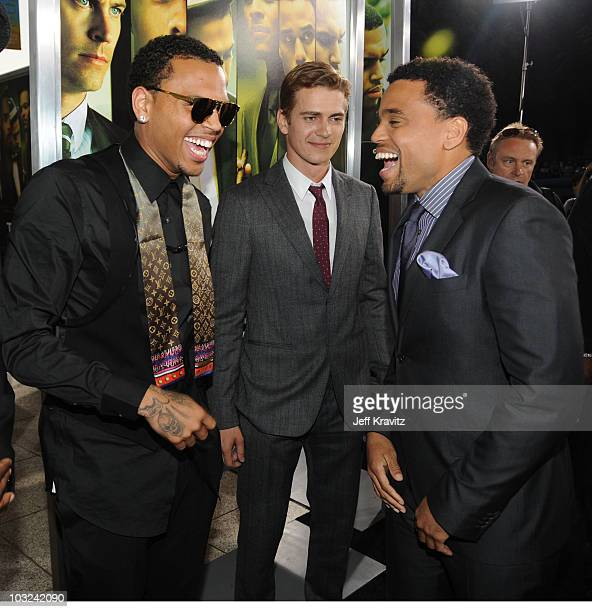Actors Chris Brown Hayden Christensen and Michael Ealy arrive at the 'Takers' Los Angeles Premiere held at ArcLight Cinemas Cinerama Dome on August 4...