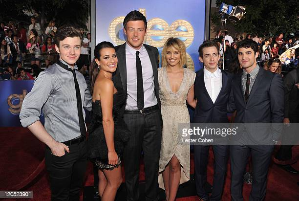 Actors Chris Colfer Lea Michele Cory Monteith Dianna Agron Kevin McHale and Darren Criss arrive at the 'Glee The 3D Concert Movie' Los Angeles...