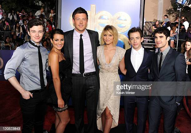 Actors Chris Colfer Lea Michele Cory Monteith Kevin McHale and Darren Criss arrive at the premiere of Twentieth Century Fox's 'Glee The 3D Concert...
