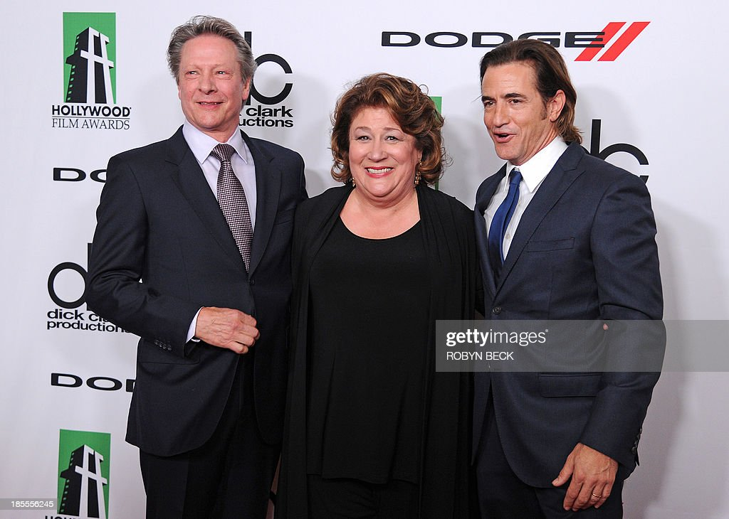 Actors Chris Cooper (L), Margo Martindale (C) and Dermot Mulroney arrive for the the 17th Annual Hollywood Film Awards Gala, October 21, 2013 at the Beverly Hilton Hotel in Beverly Hills, California AFP PHOTO / Robyn Beck
