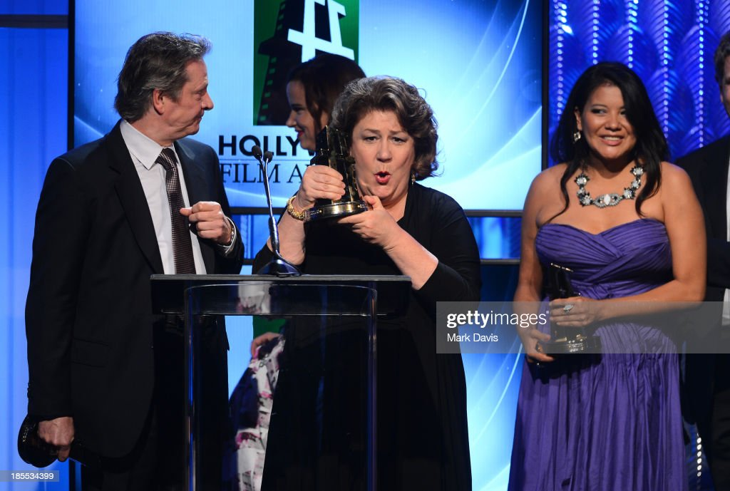 Actors Chris Cooper, <a gi-track='captionPersonalityLinkClicked' href=/galleries/search?phrase=Margo+Martindale&family=editorial&specificpeople=2649306 ng-click='$event.stopPropagation()'>Margo Martindale</a> and <a gi-track='captionPersonalityLinkClicked' href=/galleries/search?phrase=Misty+Upham&family=editorial&specificpeople=4835047 ng-click='$event.stopPropagation()'>Misty Upham</a> accept the Hollywood Ensemble Cast Award for 'August: Osage County,' as director John Wells and presenter Garry Marshall look on, onstage during the 17th annual Hollywood Film Awards at The Beverly Hilton Hotel on October 21, 2013 in Beverly Hills, California.