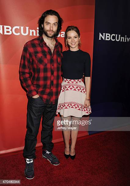 Actors Chris D'Elia and Bridgit Mendler attend the 2015 NBCUniversal Summer Press Day held at the The Langham Huntington Hotel and Spa on April 02...