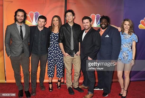 Actors Chris D'Elia Brent Mori Bianca Kajlich Rick Glassman David Flynn Ron Funches and Bridgit Mendler attend the NBCUniversal 2015 Press Tour at...