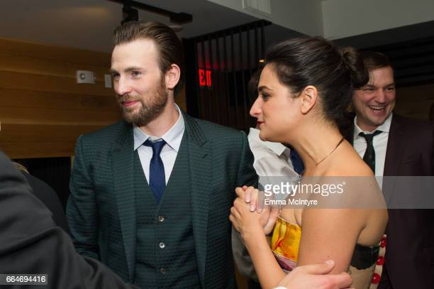 Actors Chris Evans and Jenny Slate attend the after party for the premiere of Fox Searchlight Pictures' 'Gifted' at Pacific Theaters at the Grove on...