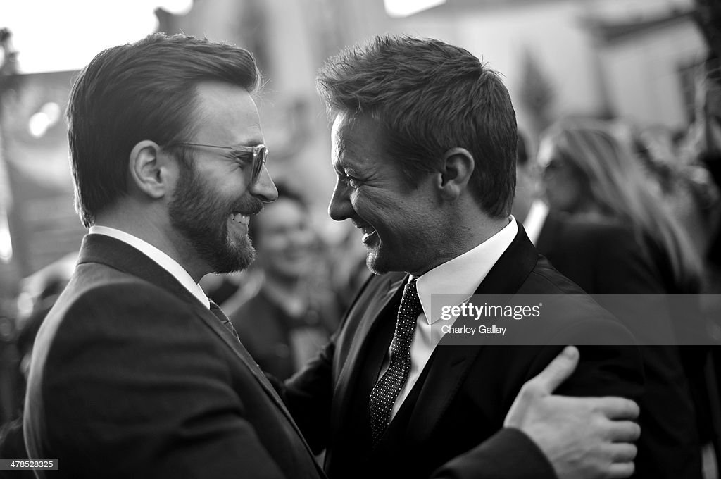 Actors <a gi-track='captionPersonalityLinkClicked' href=/galleries/search?phrase=Chris+Evans+-+Actor&family=editorial&specificpeople=6873149 ng-click='$event.stopPropagation()'>Chris Evans</a> (L) and <a gi-track='captionPersonalityLinkClicked' href=/galleries/search?phrase=Jeremy+Renner&family=editorial&specificpeople=708701 ng-click='$event.stopPropagation()'>Jeremy Renner</a> attend Marvel's 'Captain America: The Winter Soldier' premiere at the El Capitan Theatre on March 13, 2014 in Hollywood, California.