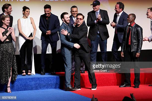 Actors Chris Evans and Robert Downey Jr with cast and crew attend The World Premiere of Marvel's 'Captain America Civil War' at Dolby Theatre on...