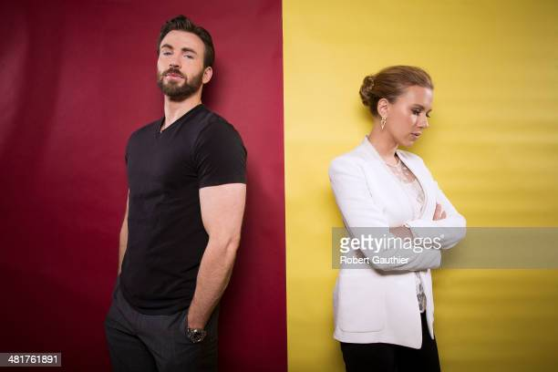 Actors Chris Evans and Scarlett Johansson are photographed for Los Angeles Times on March 12 2014 in Beverly Hills California PUBLISHED IMAGE CREDIT...