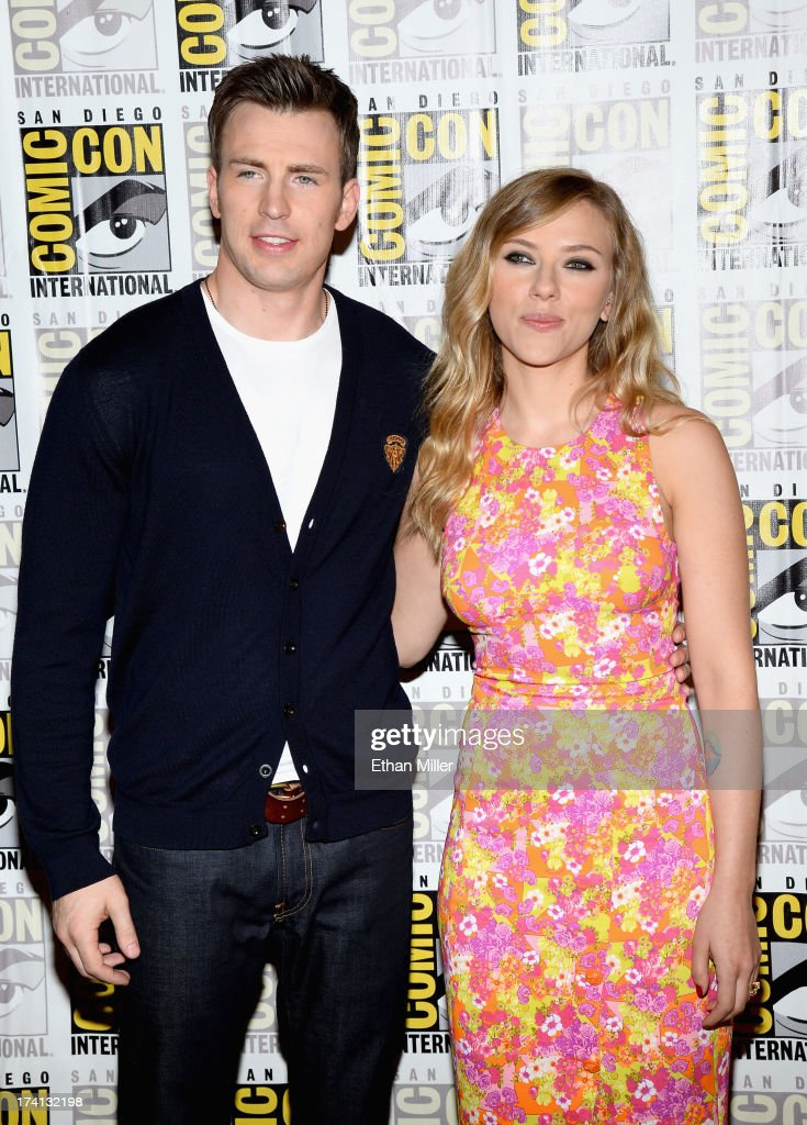 Actors Chris Evans and Scarlett Johansson attends Marvel's 'Captain America: The Winter Soldier' during Comic-Con International 2013 at the Hilton San Diego Bayfront Hotel on July 20, 2013 in San Diego, California.