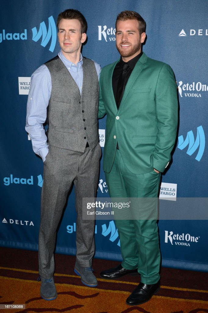 Actors Chris Evans and Scott Evans arrive at the 24th Annual GLAAD Media Awards at JW Marriott Los Angeles at LA LIVE on April 20 2013 in Los Angeles...