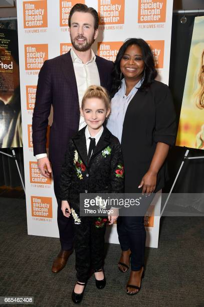 Actors Chris Evans McKenna Grace and Octavia Spencer attend the 'Gifted' New York Premiere at New York Institute of Technology on April 6 2017 in New...