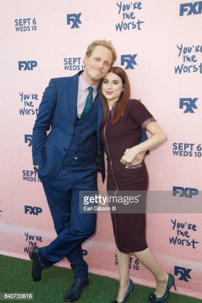 Actors Chris Geere and Aya Cash attend the premiere of FXX's 'You're The Worst' Season 4 at Museum of Ice Cream LA on August 29 2017 in Los Angeles...