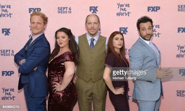 Actors Chris Geere and Kether Donohue executive producer Stephen Falk and actors Aya Cash and Desmin Borges attend the premiere of Season 4 of FXX's...