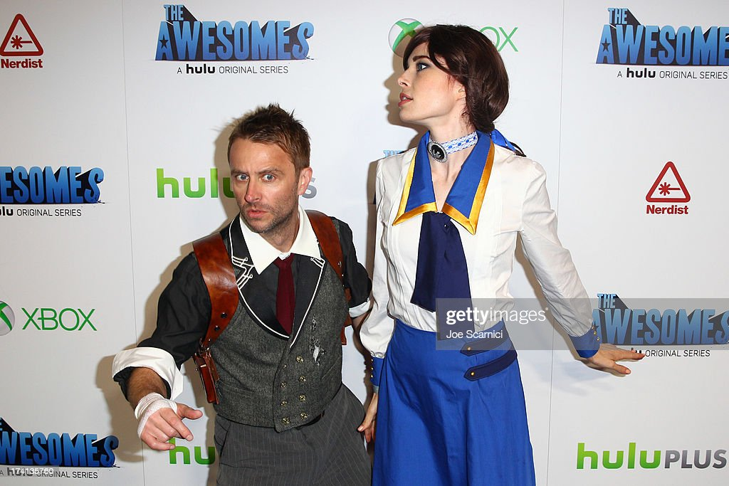 Actors <a gi-track='captionPersonalityLinkClicked' href=/galleries/search?phrase=Chris+Hardwick&family=editorial&specificpeople=960855 ng-click='$event.stopPropagation()'>Chris Hardwick</a> and Chloe Dykstra attends 'The Awesomes' VIP After-Party sponsored by Hulu and Xbox at Andaz on July 20, 2013 in San Diego, California.
