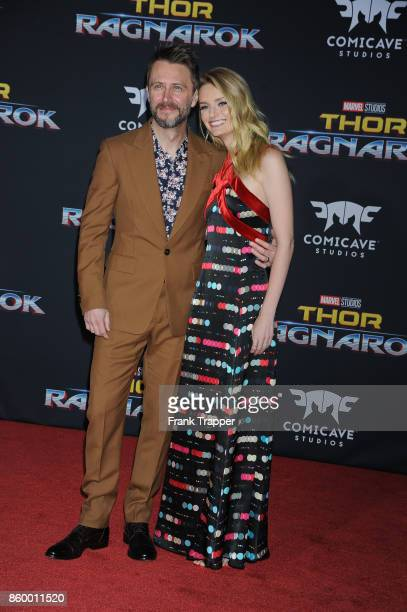 Actors Chris Hardwick and Lydia Hearst attend the premiere of Disney and Marvel's 'Thor Ragnarok' on October 10 2017 at the El Capitan Theater in...