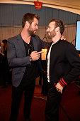Actors Chris Hemsworth and Chris Evans attend the 2016 MTV Movie Awards at Warner Bros Studios on April 9 2016 in Burbank California MTV Movie Awards...