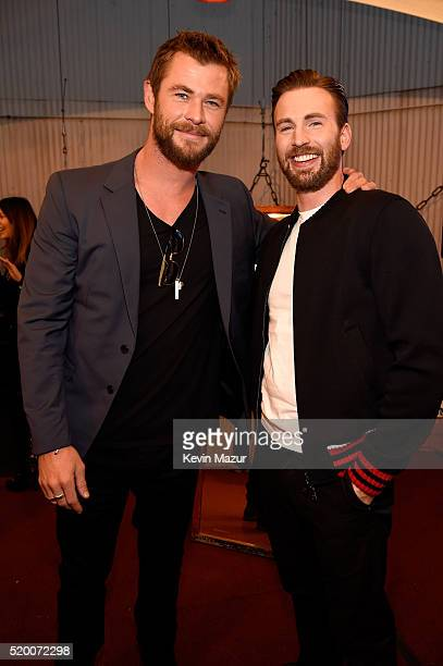 Actors Chris Hemsworth and Chris Evans attend the 2016 MTV Movie Awards at Warner Bros Studios on April 9 2016 in Burbank California MTV Movie Awards...