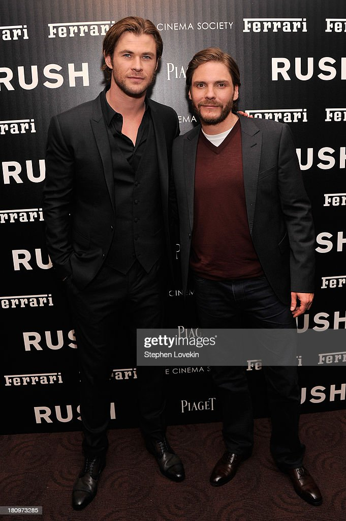 Actors <a gi-track='captionPersonalityLinkClicked' href=/galleries/search?phrase=Chris+Hemsworth&family=editorial&specificpeople=646776 ng-click='$event.stopPropagation()'>Chris Hemsworth</a> and <a gi-track='captionPersonalityLinkClicked' href=/galleries/search?phrase=Daniel+Br%C3%BChl&family=editorial&specificpeople=240493 ng-click='$event.stopPropagation()'>Daniel Brühl</a> attend the Ferrari and The Cinema Society Screening of 'Rush' at Chelsea Clearview Cinemas on September 18, 2013 in New York City.