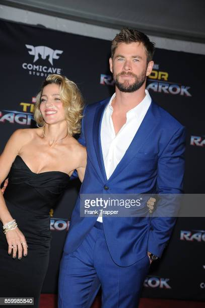 Actors Chris Hemsworth and Elsa Pataky attend the premiere of Disney and Marvel's 'Thor Ragnarok' on October 10 2017 at the El Capitan Theater in...