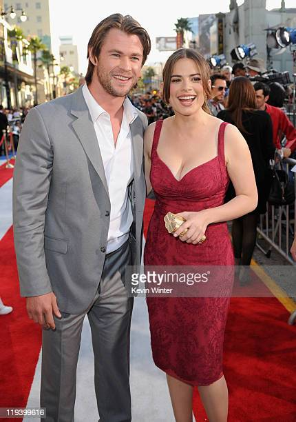 Actors Chris Hemsworth and Hayley Atwell attend the 'Captain America The First Avenger' Los Angeles Premiere at the El Capitan Theatre on July 19...