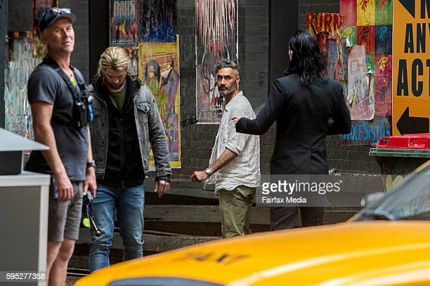 Actors Chris Hemsworth and Tom Hiddleston and director Taika Waititi are seen on the set of the film 'Thor Ragnarok' on August 23 2016 in Brisbane...