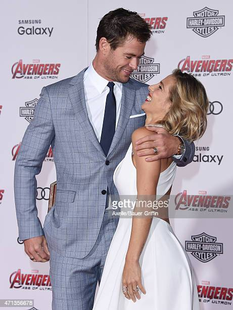 Actors Chris Hemsworth and wife Elsa Pataky arrive at the Los Angeles premiere of Marvel's 'Avengers Age Of Ultron' at Dolby Theatre on April 13 2015...