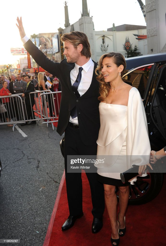 Actors <a gi-track='captionPersonalityLinkClicked' href=/galleries/search?phrase=Chris+Hemsworth&family=editorial&specificpeople=646776 ng-click='$event.stopPropagation()'>Chris Hemsworth</a> (L) and wife <a gi-track='captionPersonalityLinkClicked' href=/galleries/search?phrase=Elsa+Pataky&family=editorial&specificpeople=242789 ng-click='$event.stopPropagation()'>Elsa Pataky</a> arrive at the premiere of Paramount Pictures' and Marvel's 'Thor' held at the El Capitan Theatre on May 2, 2011 in Los Angeles, California.