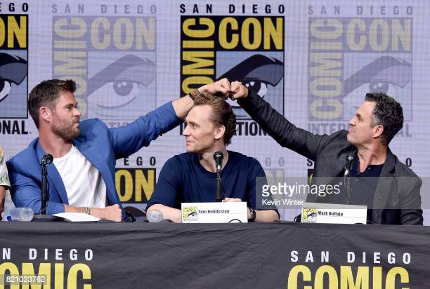 Actors Chris Hemsworth Tom Hiddleston and Mark Ruffalo attend the Marvel Studios 'Thor Ragnarok' Presentation during ComicCon International 2017 at...