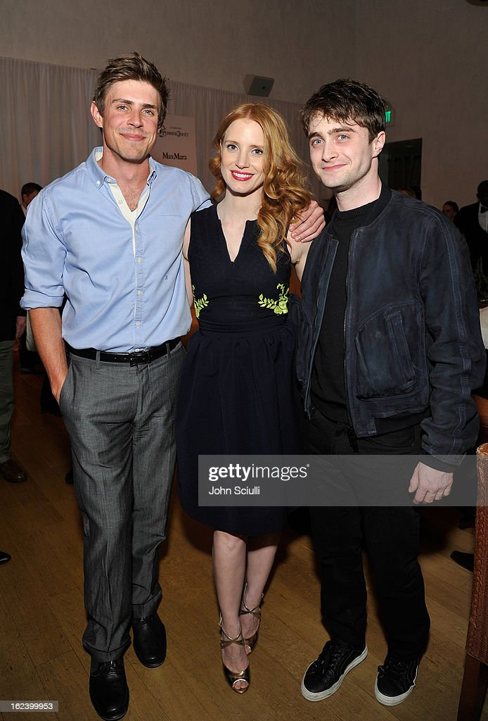 Actors <a gi-track='captionPersonalityLinkClicked' href=/galleries/search?phrase=Chris+Lowell&family=editorial&specificpeople=880311 ng-click='$event.stopPropagation()'>Chris Lowell</a>, <a gi-track='captionPersonalityLinkClicked' href=/galleries/search?phrase=Jessica+Chastain&family=editorial&specificpeople=653192 ng-click='$event.stopPropagation()'>Jessica Chastain</a> and <a gi-track='captionPersonalityLinkClicked' href=/galleries/search?phrase=Daniel+Radcliffe&family=editorial&specificpeople=204144 ng-click='$event.stopPropagation()'>Daniel Radcliffe</a> attend the Women In Film's 6th Annual Pre-Oscar Party hosted by Perrier Jouet, MAC Cosmetics and MaxMara at Fig & Olive on February 22, 2013 in Los Angeles, California.