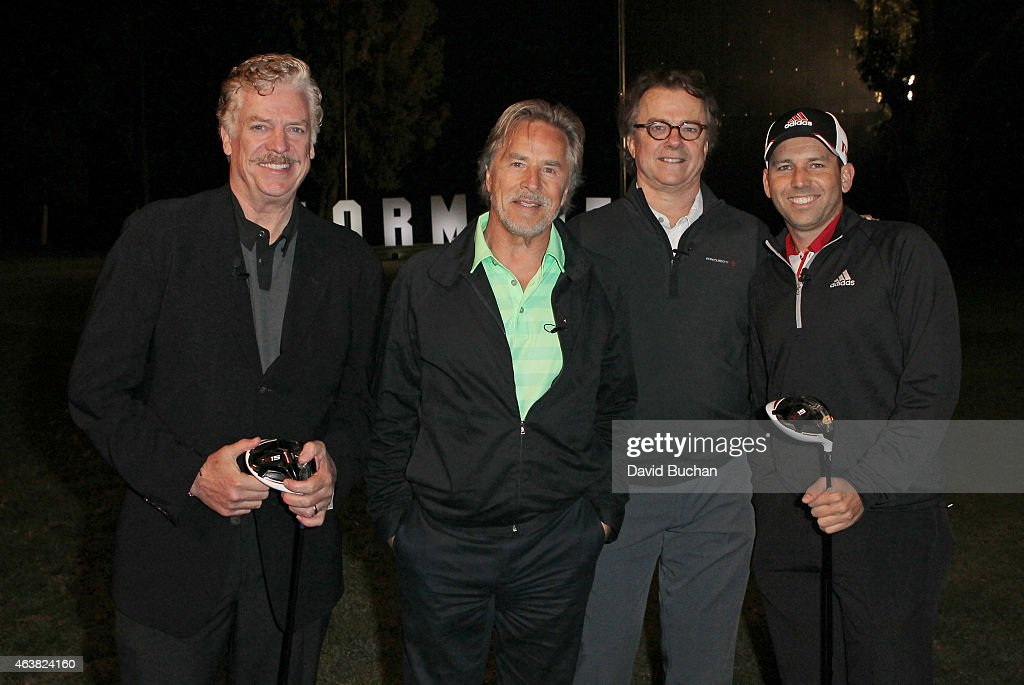 Actors Chris McDonald, <a gi-track='captionPersonalityLinkClicked' href=/galleries/search?phrase=Don+Johnson&family=editorial&specificpeople=211250 ng-click='$event.stopPropagation()'>Don Johnson</a>, Michael O'Keefe and Pro golfer <a gi-track='captionPersonalityLinkClicked' href=/galleries/search?phrase=Sergio+Garcia+-+Golfer&family=editorial&specificpeople=167240 ng-click='$event.stopPropagation()'>Sergio Garcia</a> attends the Northern Trust Open & TaylorMade Golf presents first ever Drive-In movie on the driving range of a PGA Tour event at Riviera Country Club on February 18, 2015 in Pacific Palisades, California.