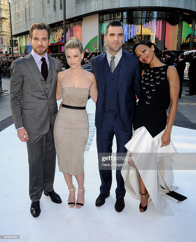 Actors <a gi-track='captionPersonalityLinkClicked' href=/galleries/search?phrase=Chris+Pine&family=editorial&specificpeople=641995 ng-click='$event.stopPropagation()'>Chris Pine</a>, <a gi-track='captionPersonalityLinkClicked' href=/galleries/search?phrase=Alice+Eve&family=editorial&specificpeople=570229 ng-click='$event.stopPropagation()'>Alice Eve</a>, <a gi-track='captionPersonalityLinkClicked' href=/galleries/search?phrase=Zachary+Quinto&family=editorial&specificpeople=715956 ng-click='$event.stopPropagation()'>Zachary Quinto</a> and <a gi-track='captionPersonalityLinkClicked' href=/galleries/search?phrase=Zoe+Saldana&family=editorial&specificpeople=542691 ng-click='$event.stopPropagation()'>Zoe Saldana</a> attend the 'Star Trek Into Darkness' UK Premiere at the Empire Leicester Square on May 2, 2013 in London, England.