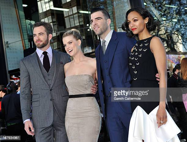 Actors Chris Pine Alice Eve Zachary Quinto and Zoe Saldana attend the UK Premiere of 'Star Trek Into Darkness' at The Empire Cinema on May 2 2013 in...