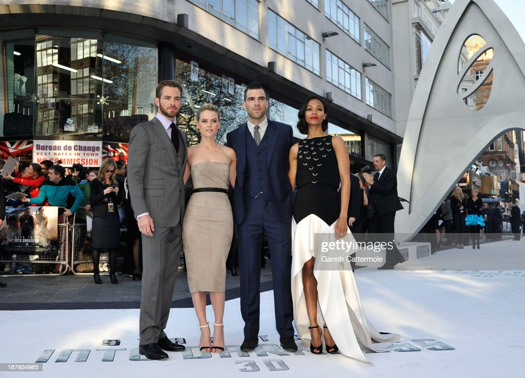 Actors Chris Pine, Alice Eve, Zachary Quinto and Zoe Saldana attend the UK Premiere of 'Star Trek Into Darkness' at The Empire Cinema on May 2, 2013 in London, England.