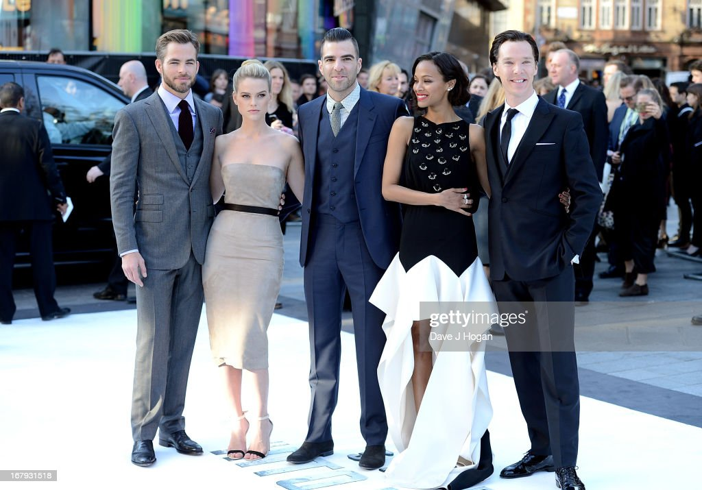 Actors Chris Pine, Alice Eve, Zachary Quinto, Zoe Saldana and Benedict Cumberbatch attend the 'Star Trek Into Darkness' UK Premiere at the Empire Leicester Square on May 2, 2013 in London, England.
