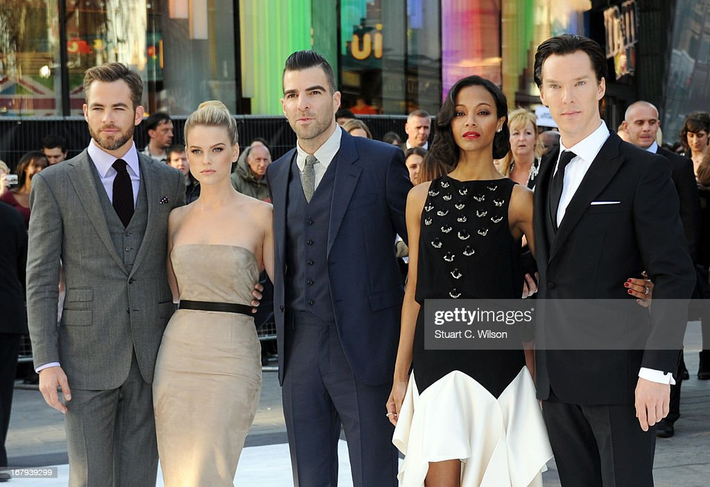 Actors Chris Pine, Alice Eve, Zachary Quinto, Zoe Saldana and Benedict Cumberbatch attend the UK Premiere of 'Star Trek Into Darkness' at The Empire Cinema on May 2, 2013 in London, England.