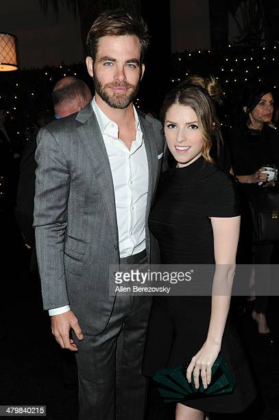 Actors Chris Pine and Anna Kendrick attend the 2nd Annual Rebel With A Cause Gala cocktail reception at Paramount Studios on March 20 2014 in...