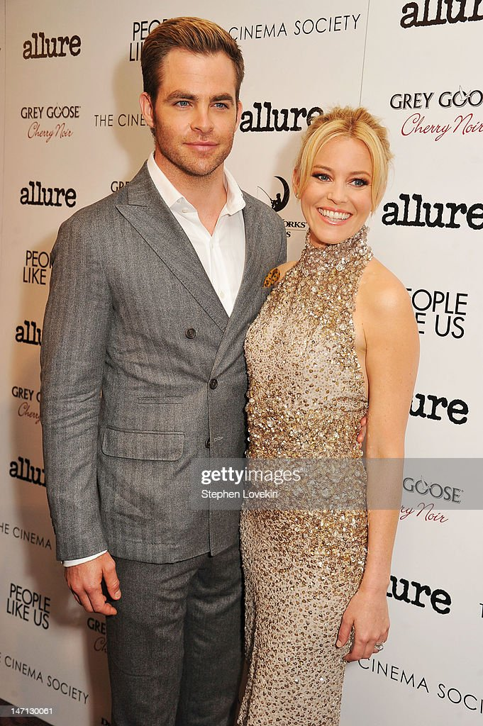 Actors Chris Pine and Elizabeth Banks attend the Cinema Society with Linda Wells & Allure screening of DreamWorks Studios' 'People Like Us' at Clearview Chelsea Cinemas on June 25, 2012 in New York City.