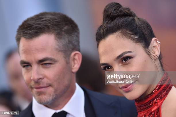 Actors Chris Pine and Gal Gadot arrive at the premiere of Warner Bros Pictures' 'Wonder Woman' at the Pantages Theatre on May 25 2017 in Hollywood...