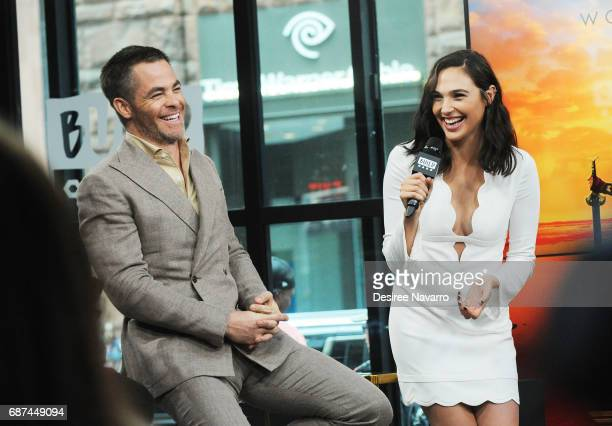 Actors Chris Pine and Gal Gadot attend Build The Cast of 'Wonder Woman' at Build Studio on May 23 2017 in New York City