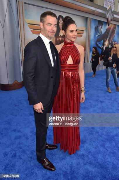 Actors Chris Pine and Gal Gadot attend the premiere of Warner Bros Pictures' 'Wonder Woman' at the Pantages Theatre on May 25 2017 in Hollywood...