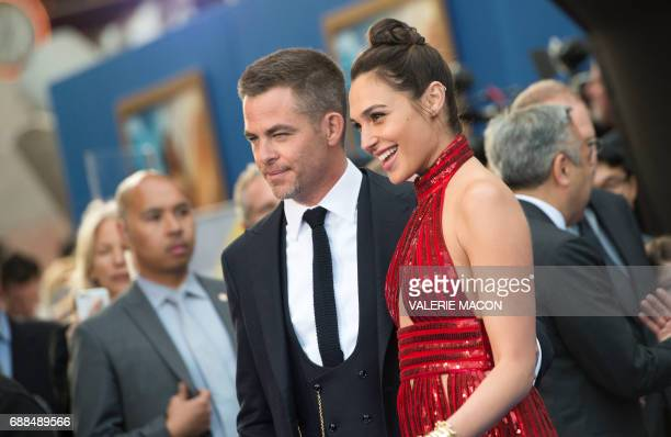 Actors Chris Pine and Gal Gadot attend the world premiere of 'Wonder Woman' at the Pantages on May 25 2017 in Hollywood California / AFP PHOTO /...