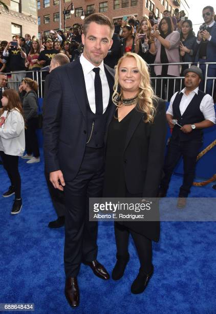 Actors Chris Pine and Lucy Davis attend the premiere of Warner Bros Pictures' 'Wonder Woman' at the Pantages Theatre on May 25 2017 in Hollywood...