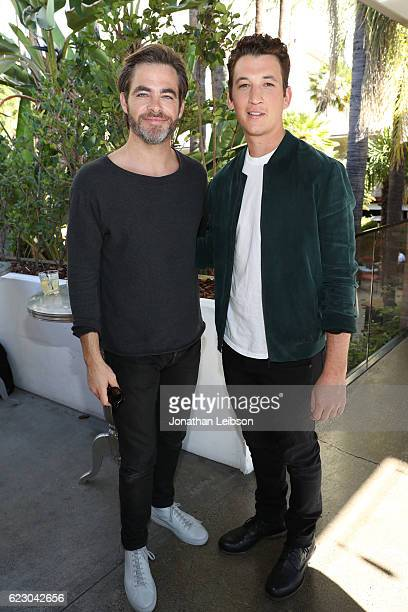 Actors Chris Pine and Miles Teller attend the Indie Contenders Reception hosted in the Audi Sky Lounge at AFI Fest 2016 presented by Audi at...
