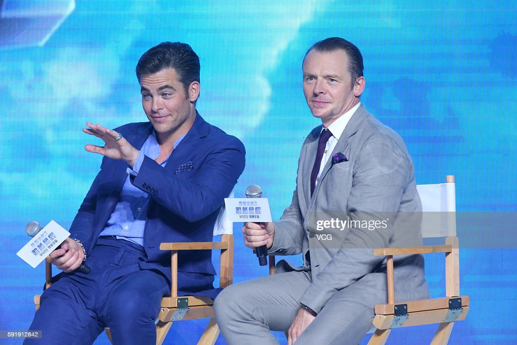 Actors Chris Pine and Simon Pegg attend 'Star Trek Beyond' press conference at Indigo Mall on August 18 2016 in Beijing China