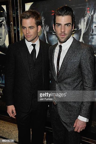 Actors Chris Pine and Zachary Quinto attend the 'Star Trek' film premiere at the Empire Leicester Square on April 20 2009 in London England