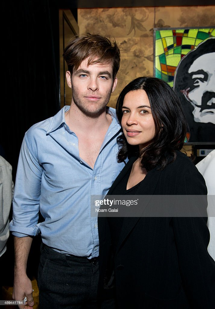 Actors Chris Pine and Zuleikha Robinson attend the Celebration of Chris Pine's cover of Flaunt Magazine at Beautique on November 22 2014 in New York...