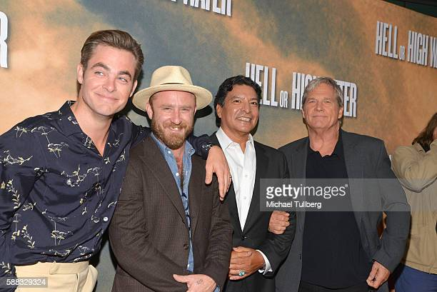Actors Chris Pine Ben Foster Gil Birmingham and Jeff Bridges arrive at the Los Angeles red carpet screening of 'Hell Or High Water' at ArcLight...
