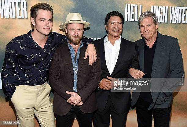 Actors Chris Pine Ben Foster Gil Birmingham and Jeff Bridges arrive Los Angeles Red Carpet Screening Of 'Hell Or High Water' at ArcLight Cinemas on...