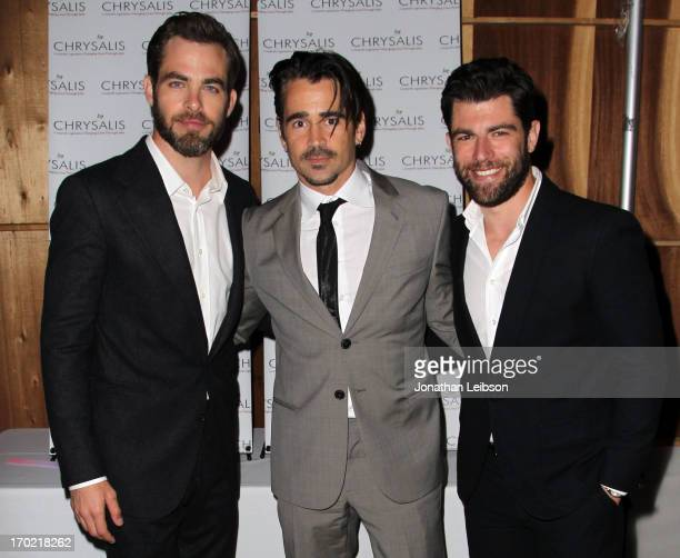 Actors Chris Pine Colin Farrell and Host Max Greenfield attend the 12th Annual Chrysalis Butterfly Ball on June 8 2013 in Los Angeles California